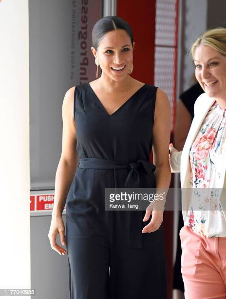 Meghan, Duchess of Sussex visits the Woodstock Exchange to meet female entrepreneurs working in technology during day three of the royal tour of...