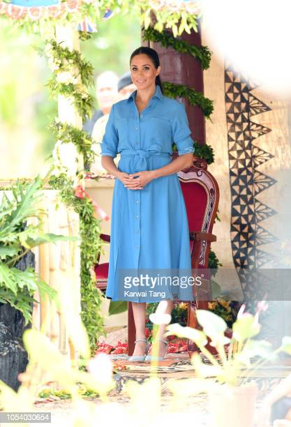 Meghan, Duchess of Sussex visits Tupou College on October 26, 2018 in Nuku'alofa, Tonga. The Duke and Duchess of Sussex are on their official 16-day...