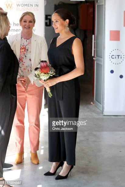 Meghan, Duchess of Sussex visits Woodstock Exchange, a women founders/social entrepreneurs event during her royal tour of South Africa with Prince...
