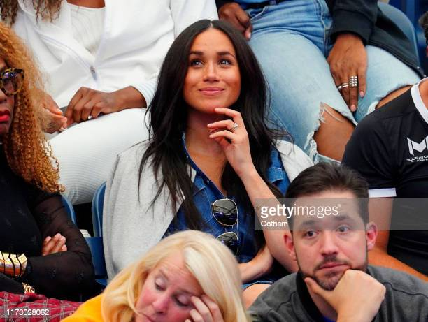 Meghan Duchess of Sussex watches Serena Williams at the 2019 US Open Women's final on September 07 2019 in New York City