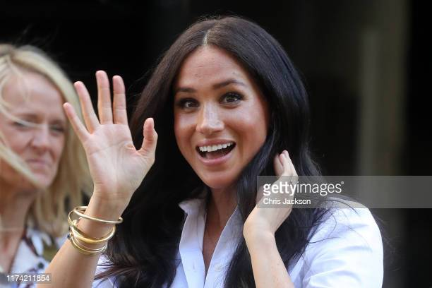 Meghan Duchess of Sussex waves after launching the Smart Works capsule collection on September 12 2019 in London England Created in September 2013...