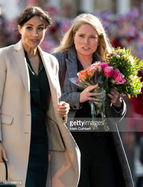 Meghan Duchess of Sussex with Amy Pickerill during a visit to Edes House during an official visit to Sussex on October 3 2018 in Chichester United...