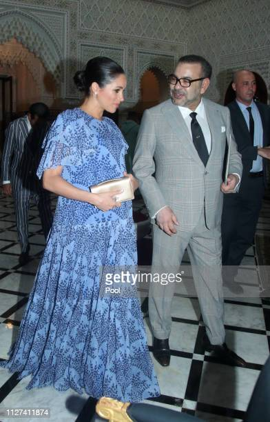 Meghan Duchess of Sussex with King Mohammed VI of Morocco during an audience at his residence on February 25 2019 in Rabat Morocco