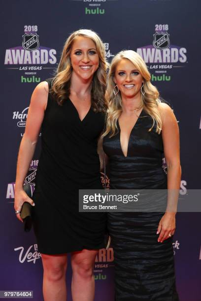 Meghan Duggan and Amanda Kessel of the USA women's national team arrive at the 2018 NHL Awards presented by Hulu at the Hard Rock Hotel Casino on...