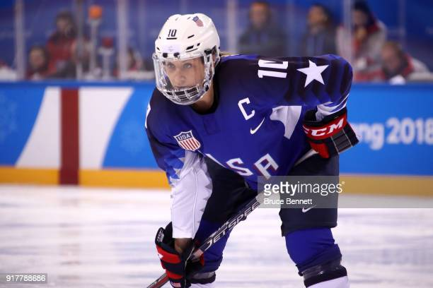 Meghan Duggan of the United States looks on in the first period against Olympic Athletes from Russia during the Women's Ice Hockey Preliminary Round...