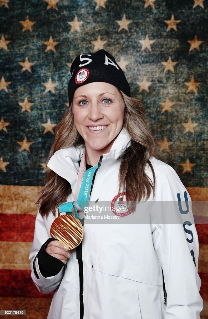 Meghan Duggan of the United States Women's Hockey Team poses for a portrait with her gold medal on the Today Show Set on February 22, 2018 in Gangneung, South Korea.