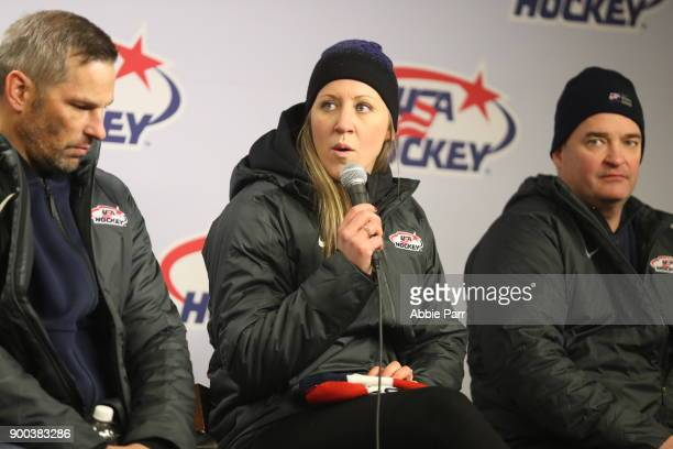 Meghan Duggan of USA Hockey speaks to the media during the 2018 Bridgestone NHL Winter Classic at Citi Field on January 1 2018 in the Flushing...