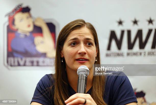 Meghan Fardelmann of the New York Riveters of the National Womens Hockey League speaks with the media at the Aviator Sports Events Center on...