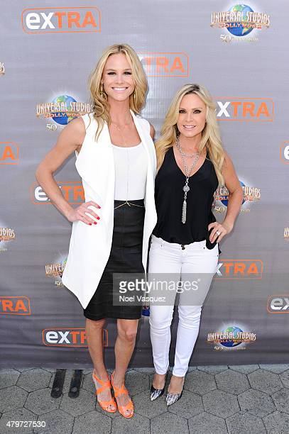Meghan King Edmonds and Tamra Judge visit 'Extra' at Universal Studios Hollywood on July 6 2015 in Universal City California