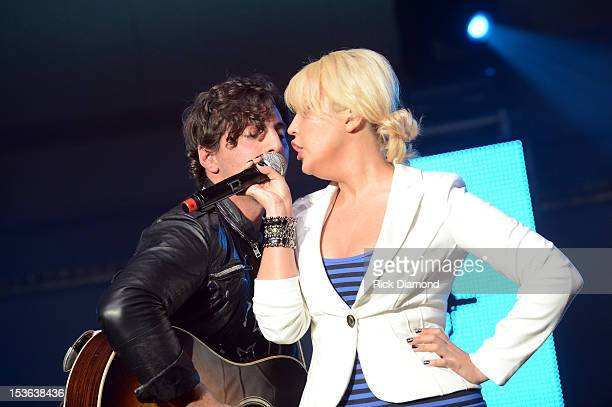 Meghan Linsey and Joshua Scott Jones of Steel Magnolia perform during APA Party at IEBA Conference Day 1 at the War Memorial Auditorium on October 7...