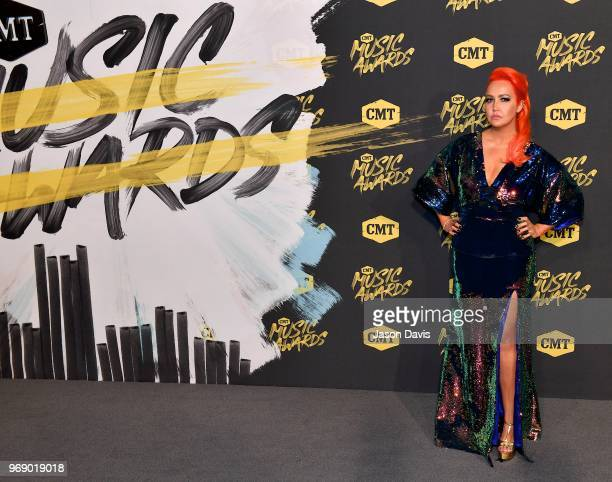 Meghan Linsey arrives at the 2018 CMT Music Awards at Bridgestone Arena on June 6 2018 in Nashville Tennessee