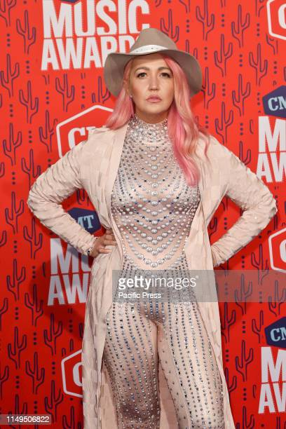 Meghan Linsey attends the 2019 CMT Music Awards at the Bridgestone Arena in Nashville Tennessee