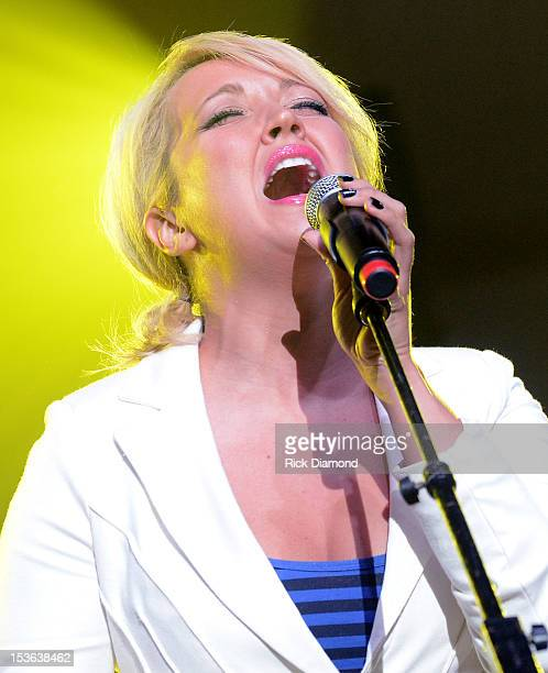 Meghan Linsey of Steel Magnolia performs during APA Party at IEBA Conference Day 1 at the War Memorial Auditorium on October 7 2012 in Nashville...