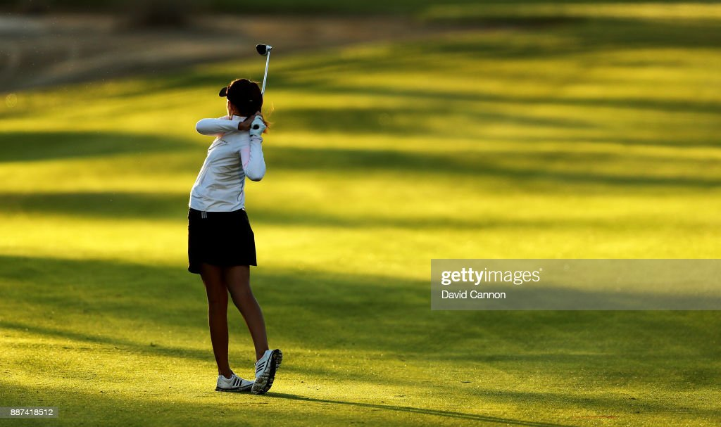 Meghan Maclaren of England plays her second shot on the par 5, 10th hole during the second round of the 2017 Dubai Ladies Classic on the Majlis Course at The Emirates Golf Club, on December 7, 2017 in Dubai, United Arab Emirates.