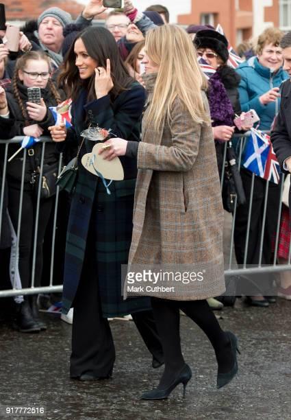Meghan Markle accompanied by Amy Pickerill visits Edinburgh Castle on February 13 2018 in Edinburgh Scotland
