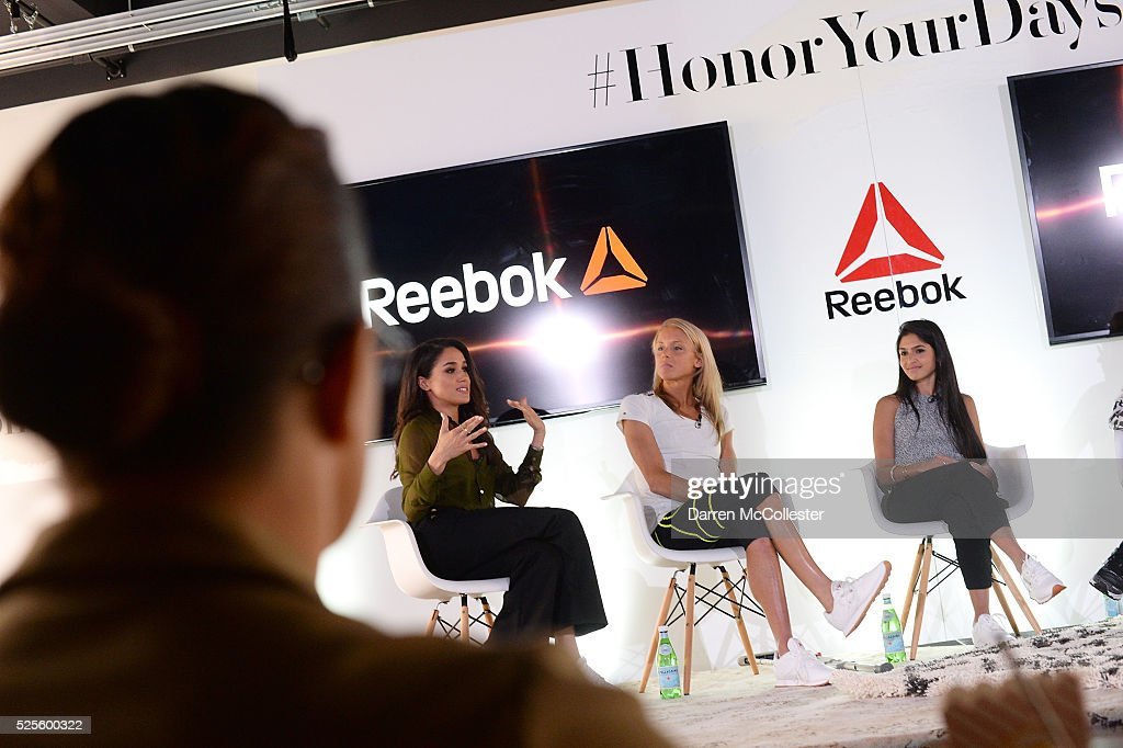 Meghan Markle, Amelia Boone and Payal Kadakia attend REEBOK #HonorYourDays Luncheon at REEBOK Headquarters on April 28, 2016 in Canton, Massachusetts.