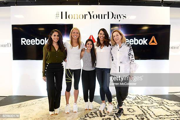 Meghan Markle Amelia Boone Payal Kadakia Jessica Mendoza and Kathrine Switzer attend REEBOK #HonorYourDays Luncheon at REEBOK Headquarters on April...