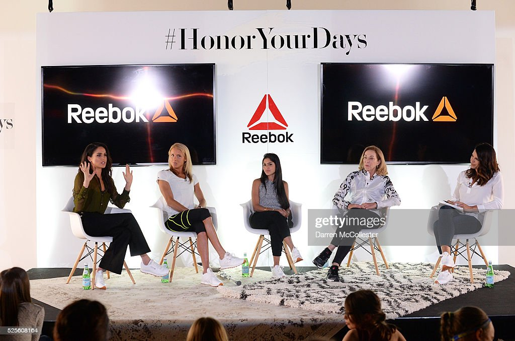 Meghan Markle, Amelia Boone, Payal Kadakia, Kathrine Switzer and Jessica Mendoza attend REEBOK #HonorYourDays Luncheon at REEBOK Headquarters on April 28, 2016 in Canton, Massachusetts.