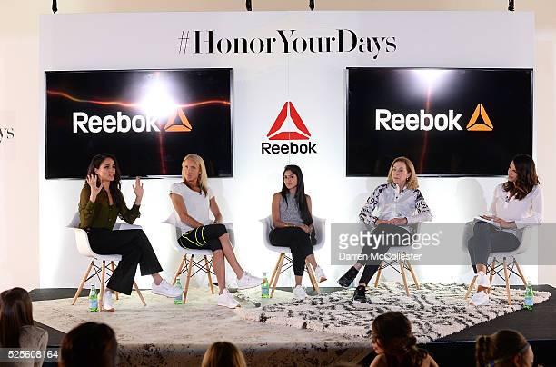 Meghan Markle Amelia Boone Payal Kadakia Kathrine Switzer and Jessica Mendoza attend REEBOK #HonorYourDays Luncheon at REEBOK Headquarters on April...