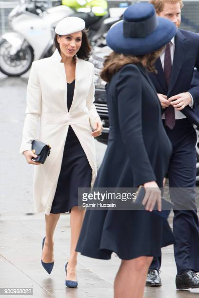 Meghan Markle and Catherine Duchess of Cambridge attend the 2018 Commonwealth Day service at Westminster Abbey on March 12 2018 in London England