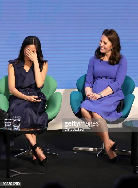 Meghan Markle and Catherine, Duchess of Cambridge attend the first annual Royal Foundation Forum held at Aviva on February 28, 2018 in London,...