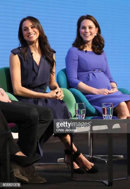 Meghan Markle and Catherine Duchess of Cambridge attend the first annual Royal Foundation Forum held at Aviva on February 28 2018 in London England...