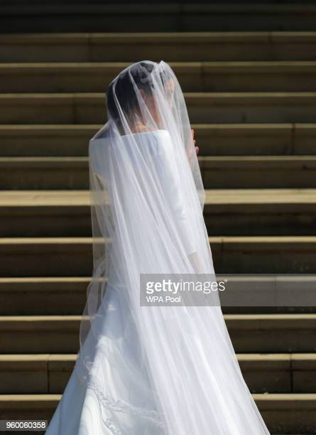 Meghan Markle and her bridal party arrive at St George's Chapel at Windsor Castle for her wedding to Prince Harry on May 19 2018 in Windsor England