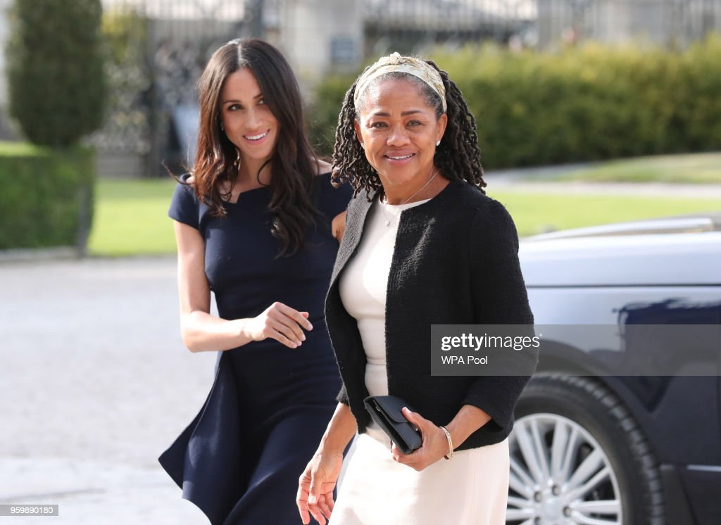 Meghan Markle and her mother, Doria Ragland arrive at Cliveden House Hotel on the National Trust's Cliveden Estate to spend the night before her wedding to Prince Harry on May 18, 2018 in Berkshire, England.