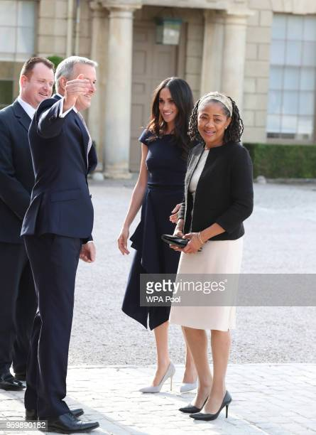 Meghan Markle and her mother Doria Ragland arrive at Cliveden House Hotel on the National Trust's Cliveden Estate to spend the night before her...