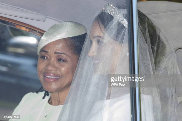 Meghan Markle and her mother Doria Ragland leave Cliveden House Hotel as they make their way to St George's Chapel at Windsor Castle before the...