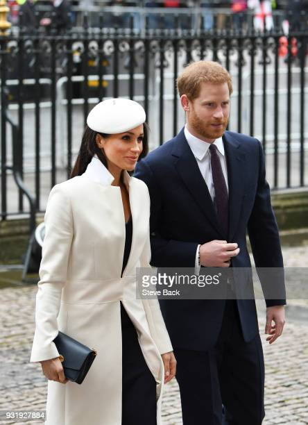 Meghan Markle and Prince Harry arrive for the 2018 Commonwealth Day service at Westminster Abbey on March 12 2018 in London England March 12 2018 in...
