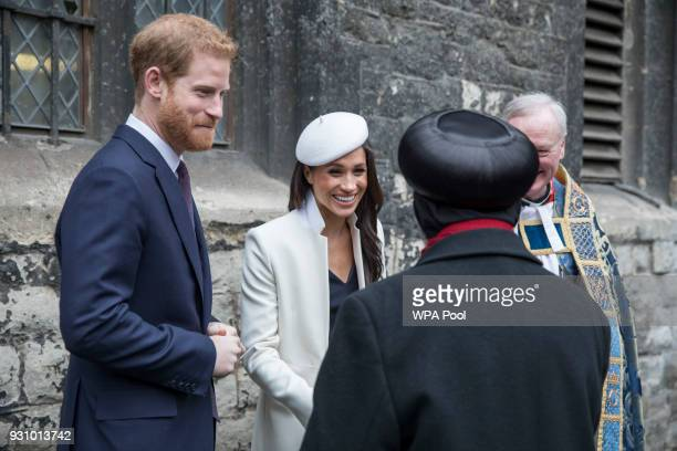 Meghan Markle and Prince Harry arrive to meet school children in the Dean's yard before attending a Reception after attending the Commonwealth...