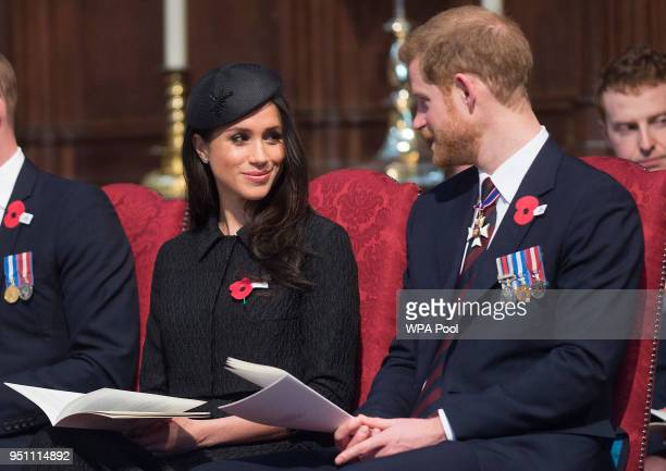 Meghan Markle and Prince Harry attend an Anzac Day service at Westminster Abbey on April 25 2018 in London England