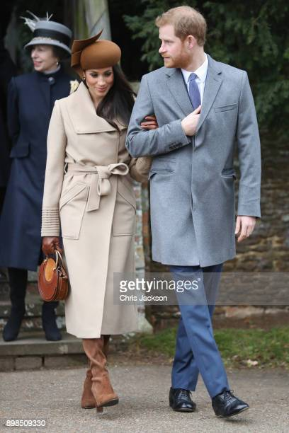 Meghan Markle and Prince Harry attend Christmas Day Church service at Church of St Mary Magdalene on December 25 2017 in King's Lynn England