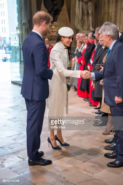Meghan Markle and Prince Harry attend the Commonwealth Service at Westminster Abbey on March 12 2018 in London England Organised by The Royal...