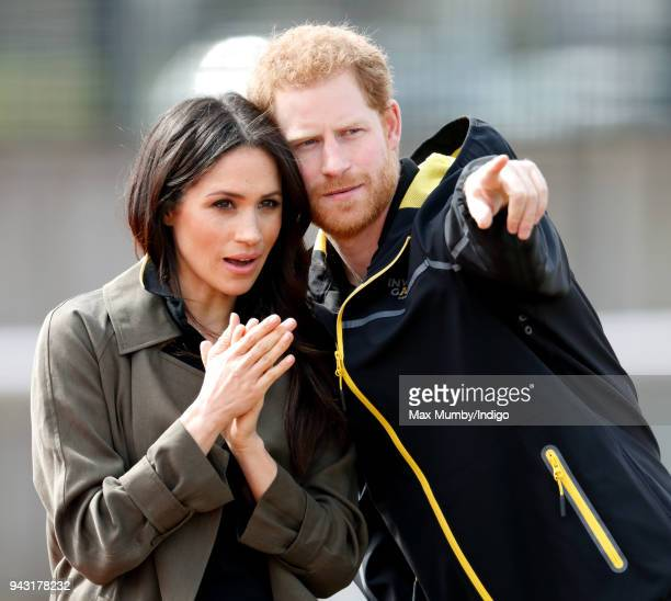 Meghan Markle and Prince Harry attend the UK Team Trials for the Invictus Games Sydney 2018 at the University of Bath on April 6 2018 in Bath England