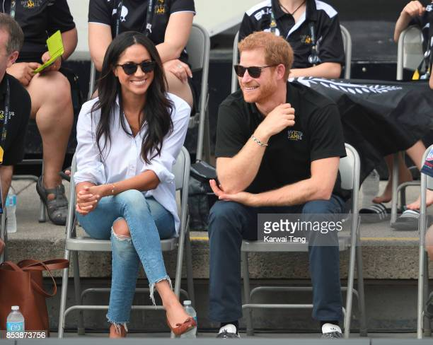 Meghan Markle and Prince Harry attend the Wheelchair Tennis on day 3 of the Invictus Games Toronto 2017 at Nathan Philips Square on September 25,...
