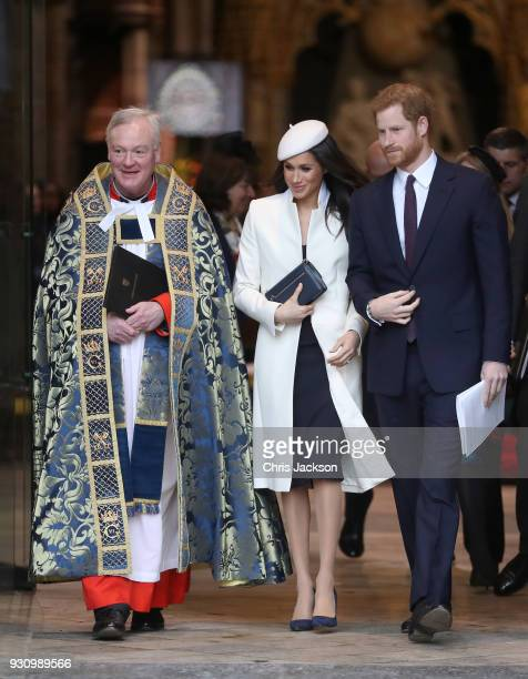 Meghan Markle and Prince Harry depart from the 2018 Commonwealth Day service at Westminster Abbey on March 12 2018 in London England