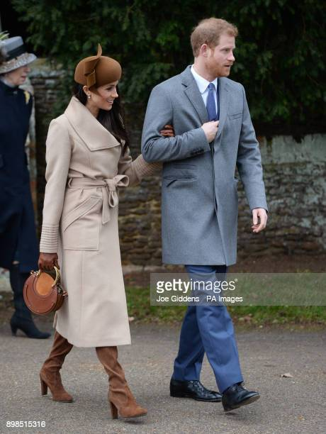 Meghan Markle and Prince Harry leaves the Christmas Day morning church service at St Mary Magdalene Church in Sandringham Norfolk