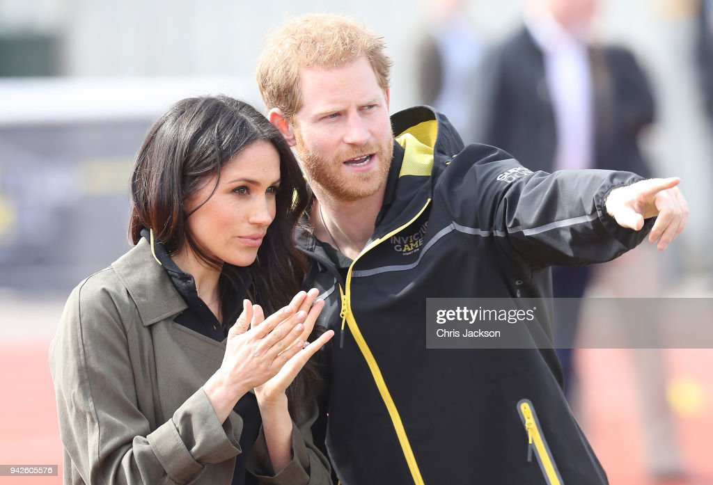 Meghan Markle and Prince Harry, Patron of the Invictus Games Foundation attend the UK Team Trials for the Invictus Games Sydney 2018 at the University of Bath Sports Training Village on April 6, 2018 in Bath, England. The Invictus Games Sydney 2018 will take place from 20-27th October and will see over 500 competitors from 18 nations compete in 11 adaptive sports.