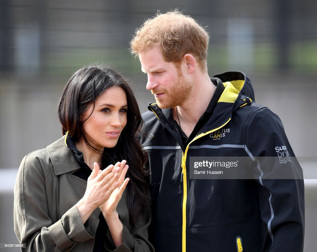 Meghan Markle (L) and Prince Harry, Patron of the Invictus Games Foundation attend the UK Team Trials for the Invictus Games Sydney 2018 at the University of Bath Sports Training Village on April 6, 2018 in Bath, England. The Invictus Games Sydney 2018 will take place from 20-27th October and will see over 500 competitors from 18 nations compete in 11 adaptive sports.