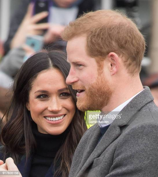 Meghan Markle and Prince Harry visit Edinburgh Castle during a visit to Scotland on February 13 2018 in Edinburgh Scotland