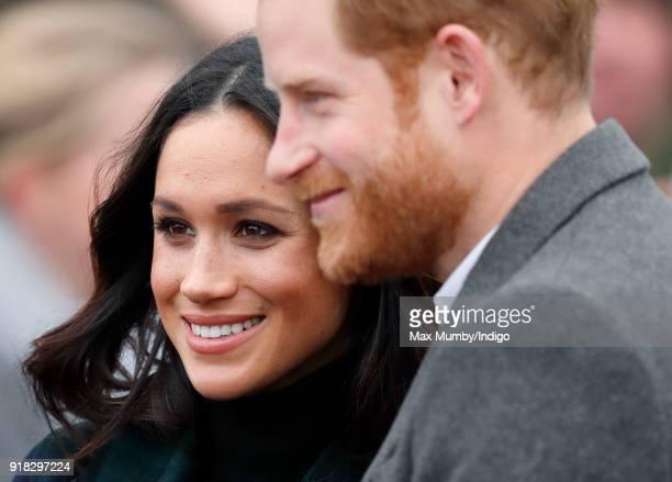 Meghan Markle and Prince Harry visit Edinburgh Castle on February 13 2018 in Edinburgh Scotland