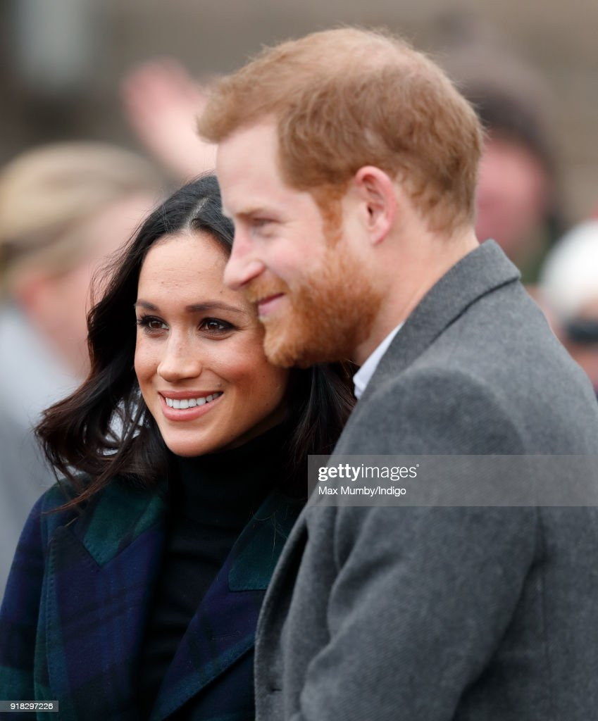 Meghan Markle and Prince Harry visit Edinburgh Castle on February 13, 2018 in Edinburgh, Scotland.