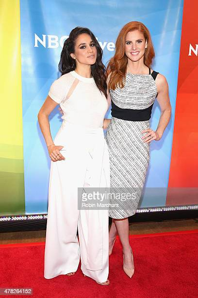 Meghan Markle and Sarah Rafferty attend the NBC's 2015 New York Summer Press Day at Four Seasons Hotel New York on June 24 2015 in New York City