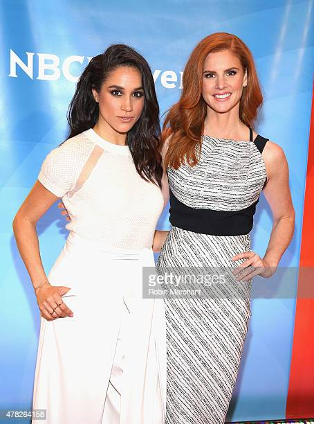 Meghan Markle and Sarah Rafferty attend the NBC's 2015 New York Summer Press Day at Four Seasons Hotel New York on June 24, 2015 in New York City.