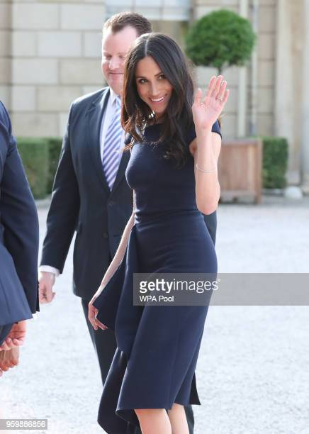 Meghan Markle arrives at Cliveden House Hotel on the National Trust's Cliveden Estate to spend the night before her wedding to Prince Harry on May 18...