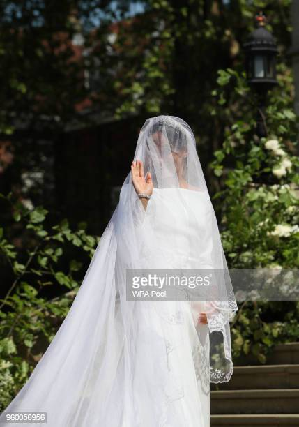 Meghan Markle arrives at St George's Chapel at Windsor Castle for her wedding to Prince Harry on May 19 2018 in Windsor England