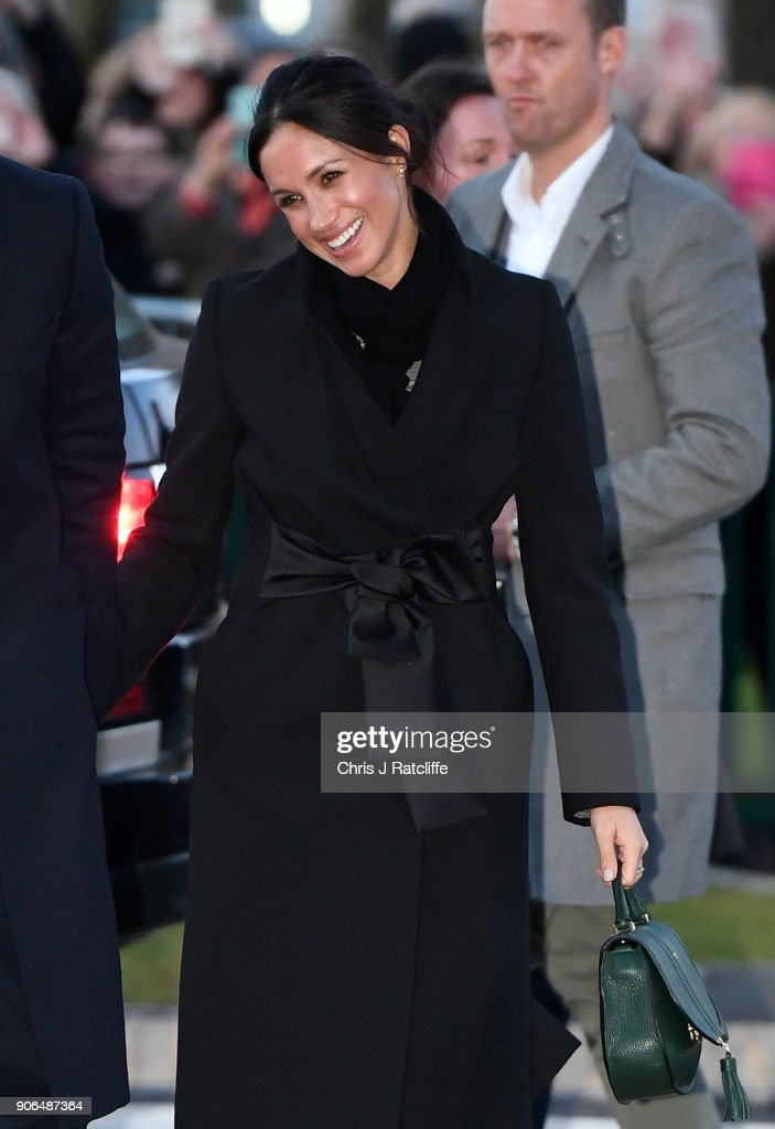 Meghan Markle arrives for her visit to Star Hub with her fiance Prince Harry on January 18, 2018 in Cardiff, Wales.