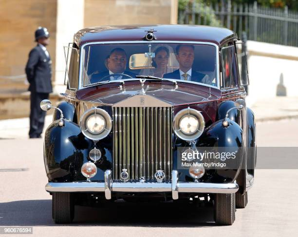 Meghan Markle arrives for her wedding at St George's Chapel Windsor Castle on May 19 2018 in Windsor England Prince Henry Charles Albert David of...